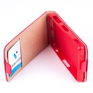 SLIM FLIP FLEX CASE COVER RUBBER magnet SONY XPERIA Z1 COMPACT RED