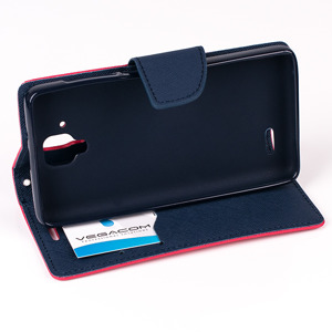 WALLET FLIP CASE COVER pocketbook RUBBER magnet LENOVO A536 red-navy