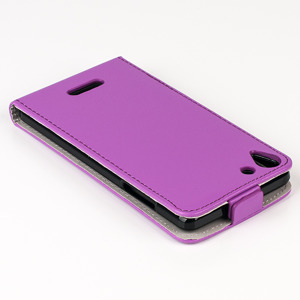 SLIM FLIP FLEX CASE COVER magnet RUBBER WIKO SELFY 4G PURPLE color