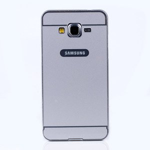 ALUMINIUM FRAME BUMPER CASE COVER GALAXY GRAND PRIME G530 SILVER+Glass