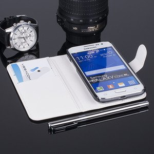 WALLET CASE COVER SAMSUNG GALAXY CORE PRIME SM-G360 pocketbook WHITE