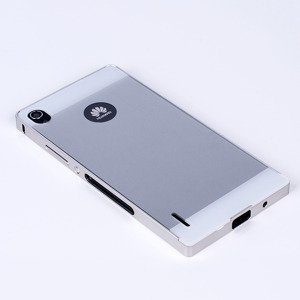ALUMINIUM FRAME PROTECTION BUMPER CASE COVER HUAWEI ASCEND P7 SILVER