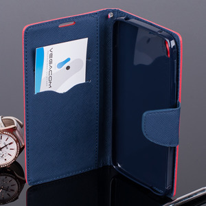WALLET FLIP CASE COVER pocketbook ALCATEL OT IDOL 3 5.5 red-navy