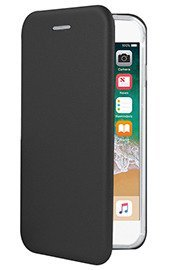 WALLET FLIP CASE COVER Magnetic PRESTIGE IPHONE 8 BLACK + GLASS