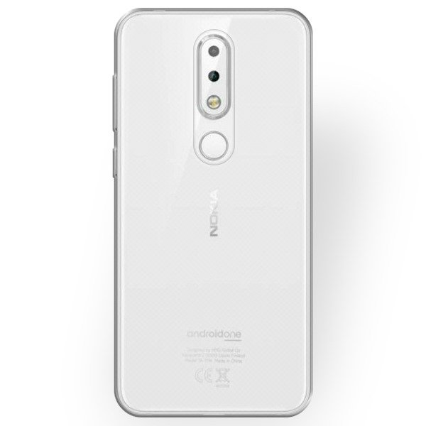 best service 6cb07 f854a 0.3mm CASE COVER NOKIA 6.1 PLUS TRANSPARENT + GLASS 9H