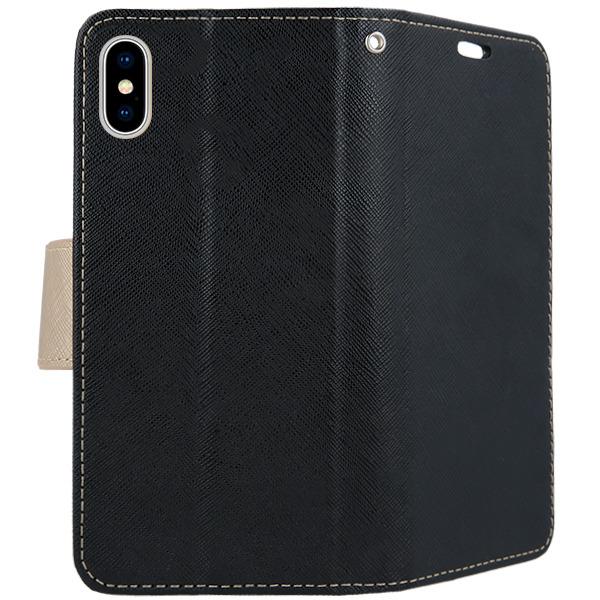 best website bcbd3 1cd61 2in1 WALLET FLIP CASE COVER MAGNET pocketbook IPHONE X BLACK GOLD