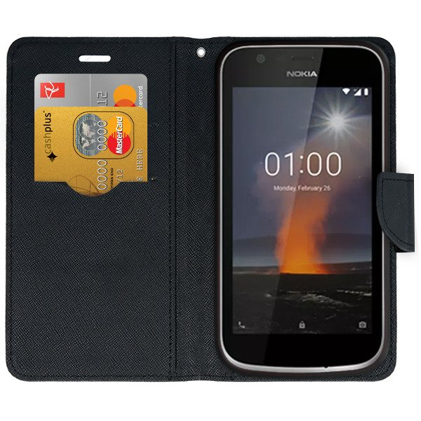 finest selection b100b a785b 2in1 WALLET FLIP CASE COVER MAGNET pocketbook NOKIA 1 BLACK