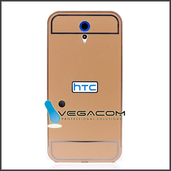 ALUMINIUM FRAME PROTECT BUMPER CASE COVER HTC DESIRE 620 GOLD + Glass
