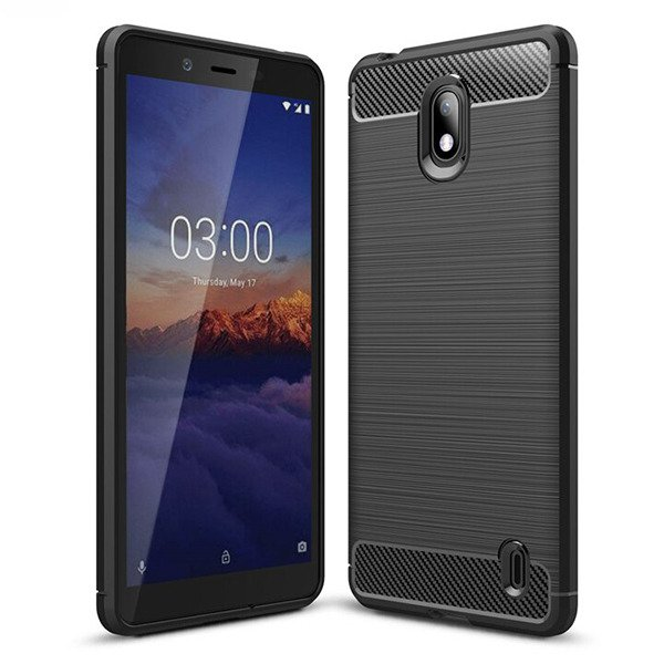 best loved 92aa9 d49b0 AMAZING RUGGED CASE COVER KARBON NOKIA 1 PLUS BLACK + GLASS 9H ...