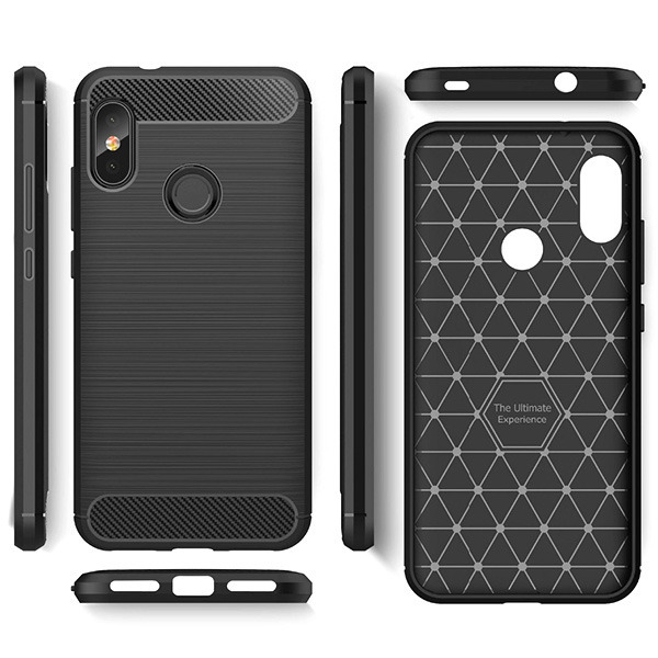 Amazing Rugged Back Case Cover Karbon Xiaomi Redmi Note 6 Pro Black