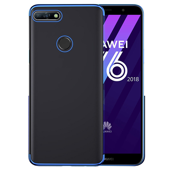 buy online 1c721 9861b BACK CASE COVER GEL BUMPER AMBIT HUAWEI Y6 2018 BLUE + GLASS 9H