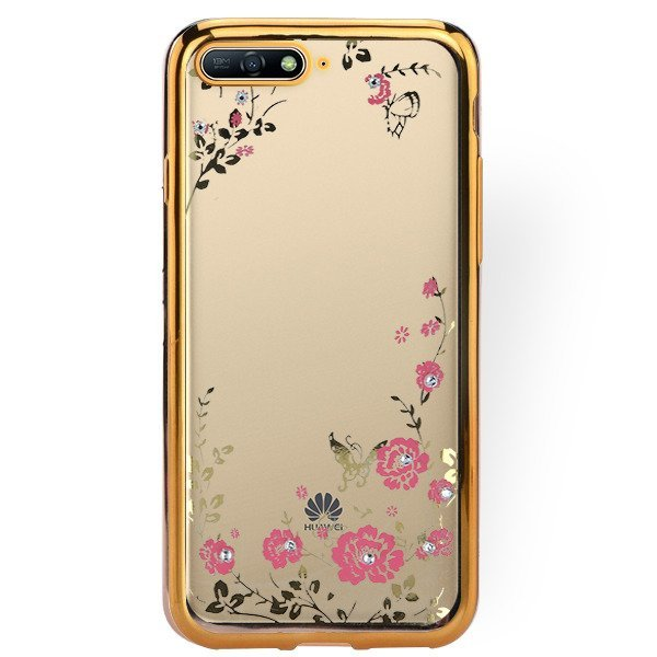 best service ee965 4a25f BACK CASE COVER GEL DIAMENTE HUAWEI Y6 PRIME 2018 GOLD + GLASS 9H