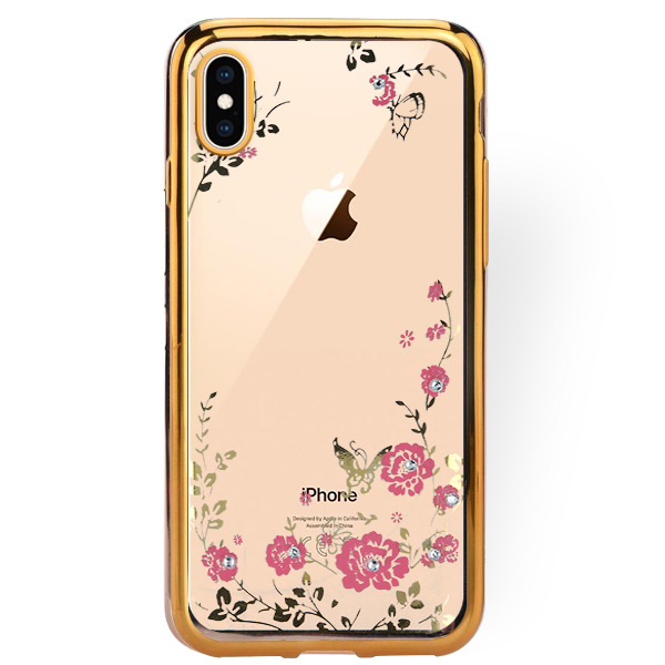 the latest e246a 37bdb BACK CASE COVER GEL DIAMENTE IPHONE XS MAX GOLD