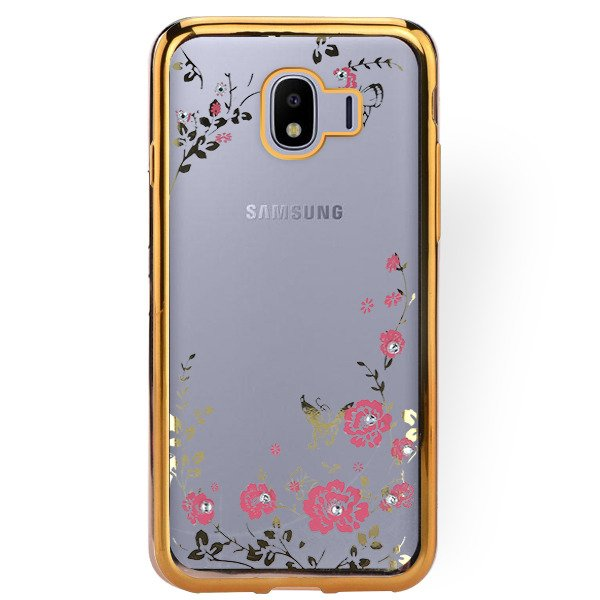 buy online 9d347 1bc3d BACK CASE COVER GEL DIAMENTE SAMSUNG GALAXY J4 2018 SM-J400 GOLD GLASS