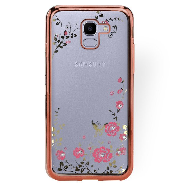 online store 176a2 98ca2 BACK CASE COVER GEL DIAMENTE SAMSUNG GALAXY J6 2018 SM-J600 PINK GLASS
