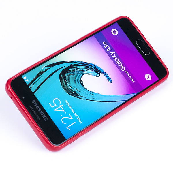 brand new b92f9 e37c8 BACK CASE COVER GEL RUBBER JELLY SAMSUNG GALAXY A3 2016 SM-A310 RED
