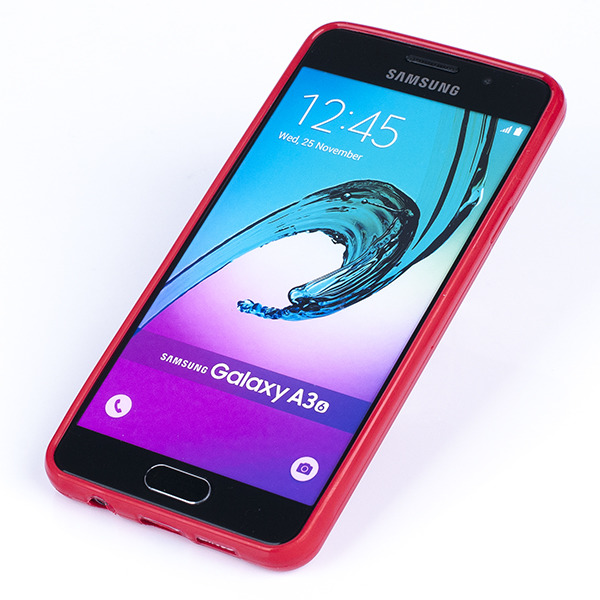 brand new b67f8 a8d86 BACK CASE COVER GEL RUBBER JELLY SAMSUNG GALAXY A3 2016 SM-A310 RED