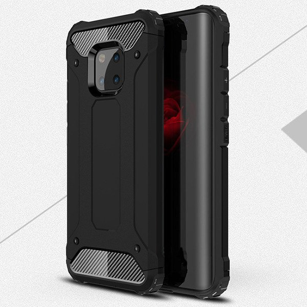 new product 873ca db33c BACK CASE COVER HYBRID SHIELD HARD HUAWEI MATE 20 PRO BLACK + GLASS 9H
