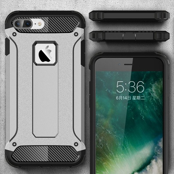 c99ae482d49 BACK CASE COVER HYBRID SHIELD HARD IPHONE 8 PLUS SILVER 84612 | VegaCom