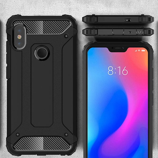 the latest 9f625 e0ad4 BACK CASE COVER HYBRID SHIELD HARD XIAOMI REDMI 6 PRO BLACK +GLASS 9H