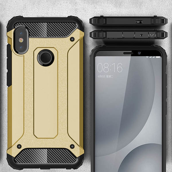 quality design f115b 40fc6 BACK CASE COVER HYBRID SHIELD HARD XIAOMI REDMI NOTE 5 GOLD