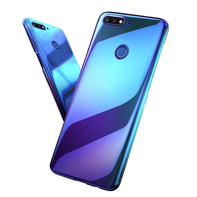 size 40 50127 0af76 BACK CASE COVER SLIM AURORA GEL SILICON HUAWEI Y7 2018 BLUE + GLASS 9H