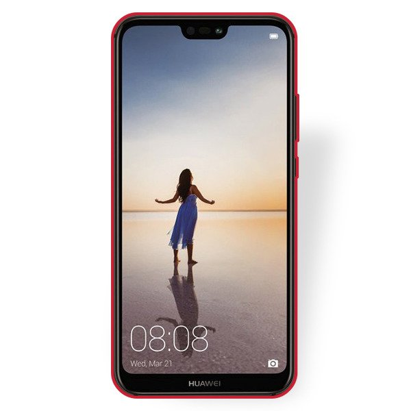 BACK CASE MAT COVER GEL RUBBER JELLY HUAWEI P20 LITE RED