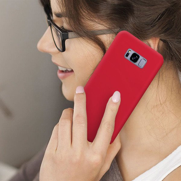 BACK CASE MAT COVER GEL RUBBER JELLY HUAWEI P20 LITE RED + GLASS 9H
