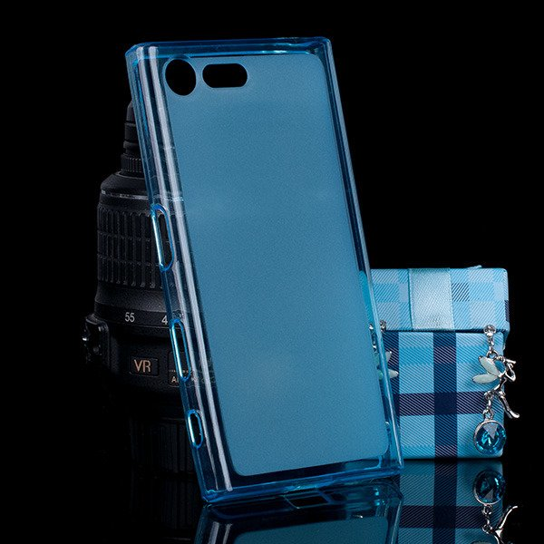 on sale 6d332 4693d BACK CASE MATT COVER GEL RUBBER JELLY SONY XPERIA X COMPACT BLUE