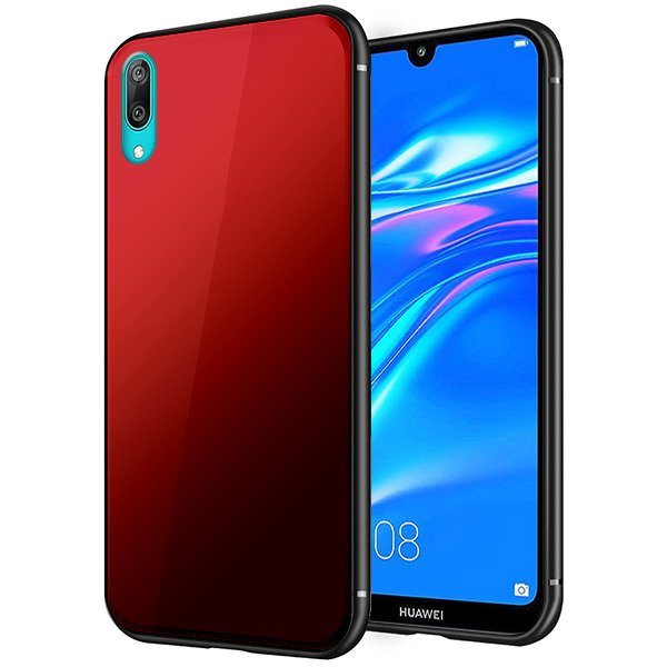low priced 4c530 e6b29 BACK Gradient GRADIENT GLASS CASE COVER HUAWEI Y7 PRIME 2019 RED