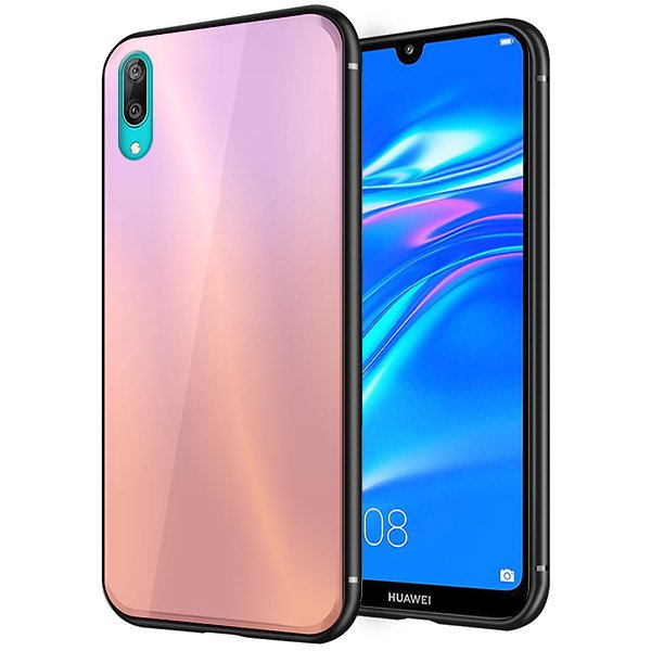 new concept fa54a aac99 BACK RAINBOW GLASS CASE COVER HUAWEI Y7 2019 / Y7 PRO 2019 PINK