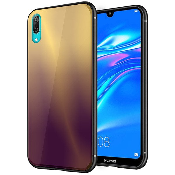 huge selection of 11c44 2a6d5 BACK Rainbow Glass CASE COVER HUAWEI Y7 2019 / Y7 PRO 2019 PURPLE + GLASS