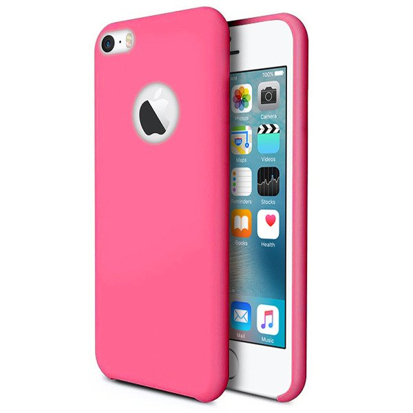 buy popular 5ac6a c73d0 BACK STYLE CASE COVER IPHONE SE 5 5S PINK + GLASS