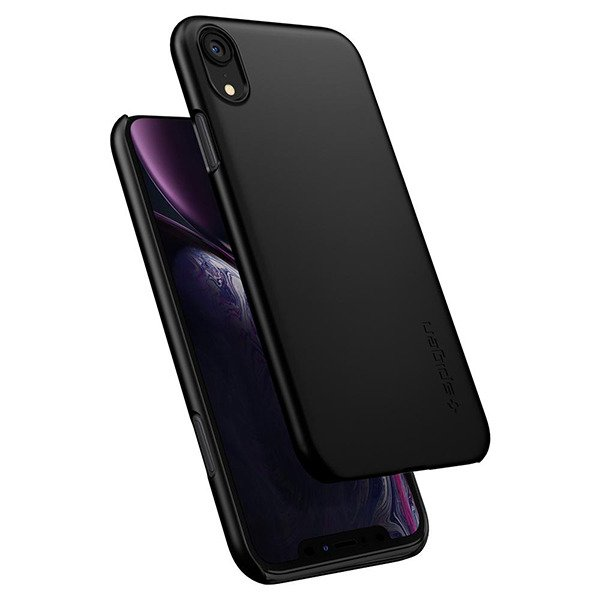 new arrival 415f1 add4d Back case Spigen Thin Fit Series cover black for IPHONE XR + GLASS 9H