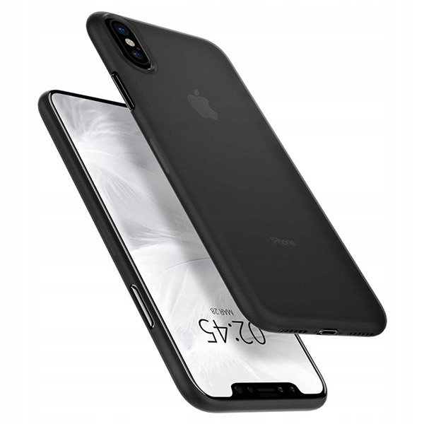 new concept 3e121 fd568 Back case Spigen series AirSkin 0.4mm thick black cover for IPHONE XS MAX +  GLASS 9H