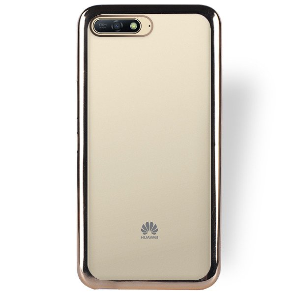 CASE COVER BUMPER TPU JELLY HUAWEI Y6 PRIME 2018 GOLD + GLASS