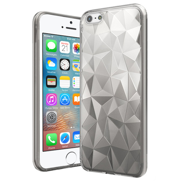 the latest 9e40c f66ba CASE COVER GEL RUBBER JELLY ORIGAMI IPHONE SE 5 5S TRANSPARENT + GLASS