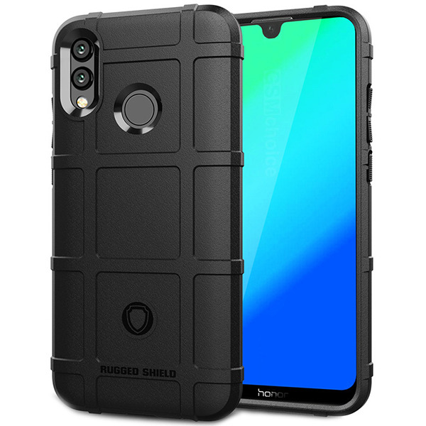 newest collection 8ef28 710ad CASE COVER GEL RUBBER RUGGED ARMOR HUAWEI P SMART 2019 BLACK +GLASS 9H