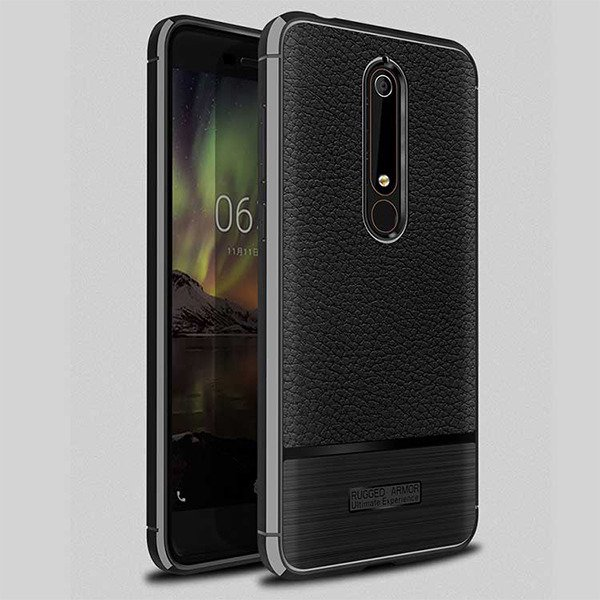 outlet store 2cb88 eac48 CASE COVER GEL RUBBER JELLY RUGGED CARBON NOKIA 6 2018 BLACK