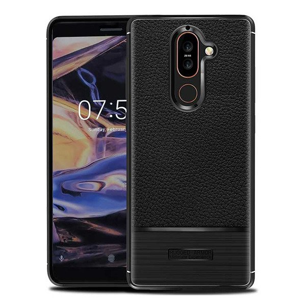 Case Cover Gel Rubber Jelly Rugged Carbon Nokia 7 Plus Black