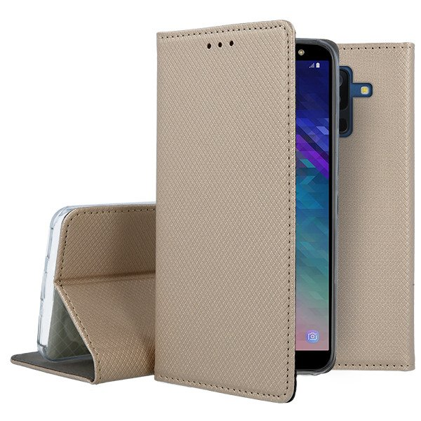 purchase cheap 7aa9d 0a84e CASE COVER Magnetic SmartCase SAMSUNG GALAXY A6 PLUS 2018 GOLD + GLASS
