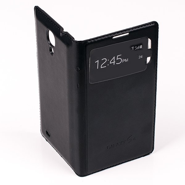 CASE COVER TPU WINDOW VIEW FOR SAMSUNG GALAXY S4 GT-I9500 BLACK
