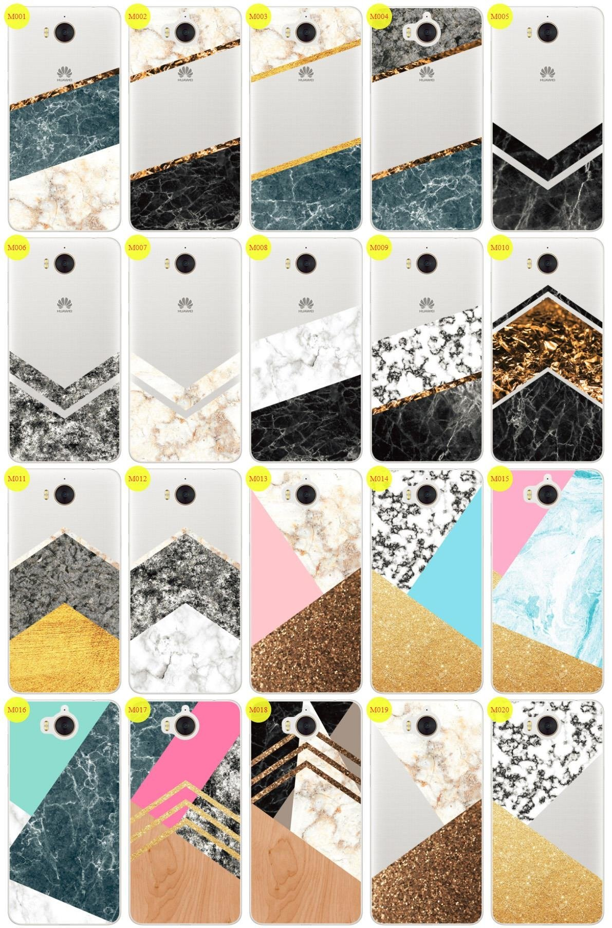 Case Cover Overprint Kreatui MARBLE HUAWEI Y6 2017 + GLASS 9H