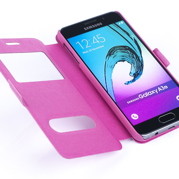 best sneakers e79af 7dd10 FLIP CASE COVER TPU WINDOW VIEW SAMSUNG GALAXY A3 2016 SM-A310 PINK