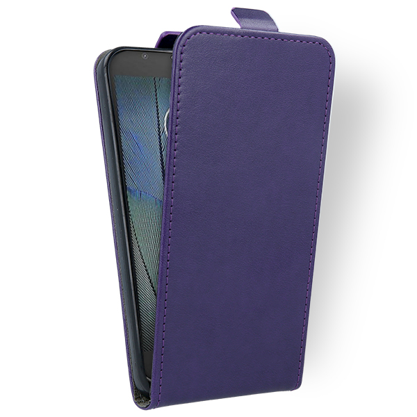 new product 891d1 3399c FLIP CASE COVER magnet RUBBER MOTOROLA MOTO G5S PLUS PURPLE + 9H GLASS