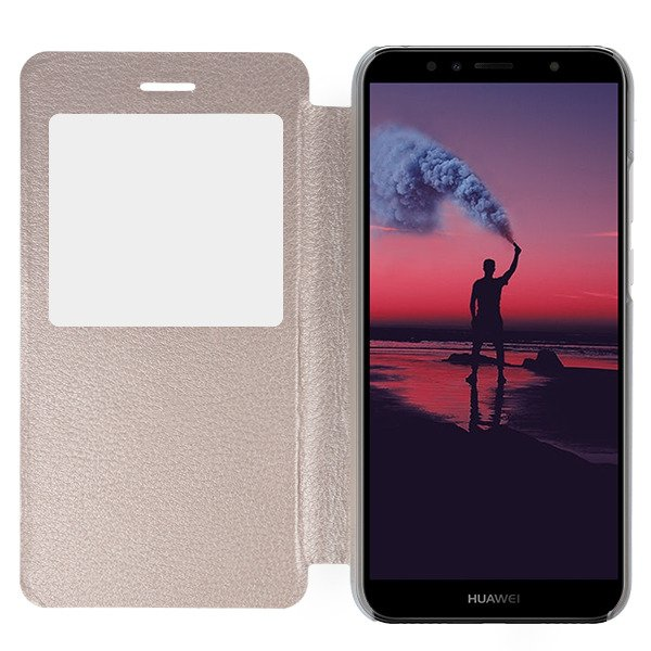 promo code 19047 31dad FLIP SLIM CASE COVER TPU WINDOW VIEW HUAWEI Y6 PRIME 2018 GOLD