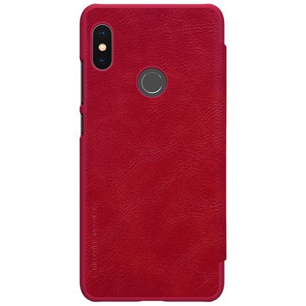 low priced 38adc 53b00 Flip case for XIAOMI REDMI NOTE 5 PRO of Nillkin series Qin red cover