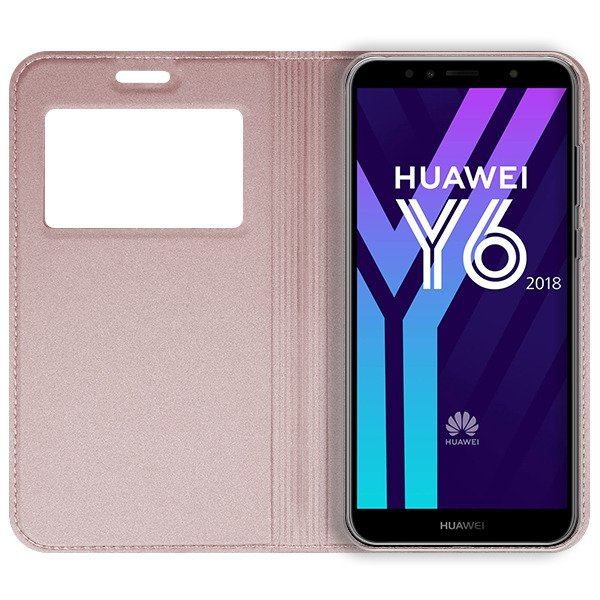 brand new 60c03 0758e LOOK FLIP CASE COVER TPU WINDOW VIEW HUAWEI HONOR 7A PINK-GOLD + GLASS