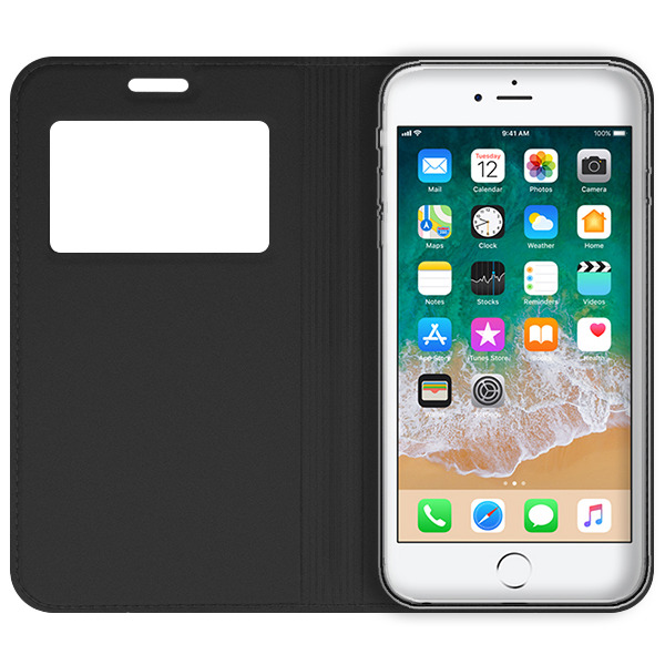 new product 0bfbb c1744 LOOK FLIP CASE COVER TPU WINDOW VIEW IPHONE 6 6S BLACK + GLASS 9H