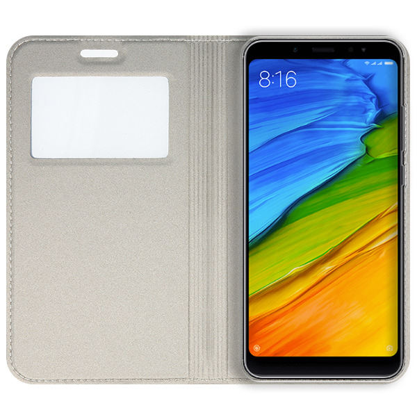sale retailer b763f 0bcf6 LOOK FLIP CASE COVER TPU WINDOW VIEW XIAOMI REDMI NOTE 5 GOLD + GLASS